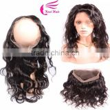 Alibaba 360 Lace Band Frontal Bleached Knots Wavy Brazilian Virgin Hair 360 Full Lace Frontal Closure With Baby Hair