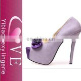 gentlewoman High-heeled shoes with fish head and Sweet satin bow