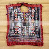 vintage mirror work and embroidery patch - Vintage Handmade Banjara Thread Work Yoke Neck Patch