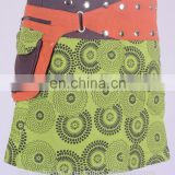Black Dot Exotic Print in Avocado Green Gypsy Wrap Around Skirt With Belt HHCS 112 A