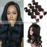 8A virgin hair body wave hair 100% natural original brazilian human hair bundle with frontal