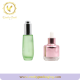 Light cyan color Glass serum bottle with silver dropper