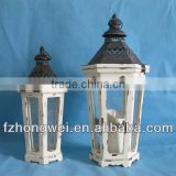 Hongwei Handmade Antique&Retro White Wood Lantern/Candle Lantern/Candle Holder with Metal Lid&Ring Handle for Home&Garden Decor