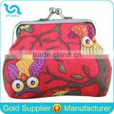 Stock Wholesale Vintage Owl Printing 6 Colors Canvas Snap Lock Owl Coin Purse