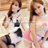 2016 Lace Babydoll Night Dress Sleepwear transparent hot mature women lingerie sexy