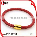 Fashion Stainless Steel Plated 18K Gold Clasp Red Leather Friendship Bracelet