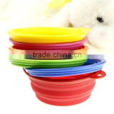 Colorful Wholesale Promotion Food Grade Pet Feeding Water Food Holder Collapsible Travel Bowl Fortable Silicone Pet Bowl