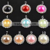 14MM to 22MMM in Stock tWholesales Colorful Silver Plated Alloy Pearl Crystal Rhinestone Button For Jewelry Garment Accessory