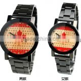 Customized country flag couple watch for Canada Gun-black alloy quartz pair couple watch
