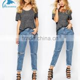 High quality Wholesale Womens Denim Low Rise Oversized Boyfriend Jeans With Roll Hem & Ripped Knees                                                                         Quality Choice