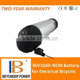 CE, RoHS approved high power bottle lithium battery, 36V10ah for electrical bicycles and scooters, assembly via 18650 cells