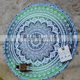 Green Ombre Mandala Tapestry Home Dorm Decor Bohemian Hippie Beach Throw Roundie Mandala Tapestry