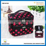 polyester cosmetic bag with lace women butterfly make up bag Promotional two pockets cosmetic bag