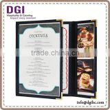 Clear plastic triple wooden holder / menu book for restaurant /drink cans