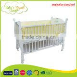 WBC-01B australia standard solid wood softextile baby crib attacged bed with anti-skid casters