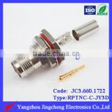 RPTNC connector with o-ring female body with male pin bulkhead crimp straight type for 3D-FB cable