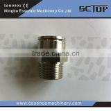 The Nickle Plated Brass Push in Fittings brassPneumatic Straight Adaptor Brass Fitting BSPT Thread