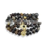 KJL-ST0033 real 24K gold 8mm brown white agate round stone 8mm bead men bracelet beaded 24k gold skull head women bracelet