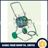 Two Wheel Hose Pipe Reel Holder Trolley Cart Garden Water Portable Free Standing Stand With 15M Hose 552462
