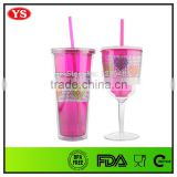 Customized 24 oz & 12 oz double wall plastic tumbler and wine tumbler with bling band