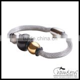 Chameleon 316L Stainless Steel Silver Mesh Bracelet with Beads