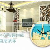 Bedroom/Living Room Tower Design Imitation Wooden Wall Clock, Decorative 10 Inch Mute Fasion Wall Clock For Wholesale