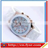 Hot Sale Silicone Quartz Geneva Brand Rose Gold Women Watch
