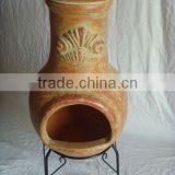 clay chimney with metal stand, fire shelf and lid