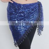 Professional stage wears indian paillettes hip scarf triangle sequin beaded hip scarf