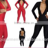 Sexy Party Evening tight dresses Backless Long Sleeve Bandage Bodycon Jumpsuits