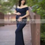 Women Short Sleeve Maternity Dress For Photo Shoot Women Pregnancy Clothing Long Maxi Gown Navy Blue Dress