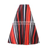 Walson Spring Autumn High Waist Geometry Striped Print Pleated Maxi Skirt Fall Contrast Casual A Line Skater Tutu Skirts Women C