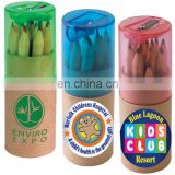 Coloured wood Pencils set In Cardboard Tube With Sharpener