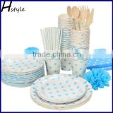 Fashion Disposable Craft Dinner Ware Paper Party Tableware Set For Dishes SC168                                                                         Quality Choice