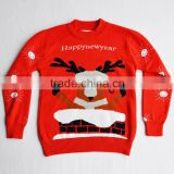 100% Cotton Knitwear Red Christmas sweater for Kid