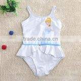 2015 wholesale One Piece Cinderella Girl Princess Swimwear Sleeveless Children Girls Swimsuit white
