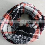 2014 Winter Newest Fashion Popular Classic Plaid Acrylic Knitted Circle Loop Scarf
