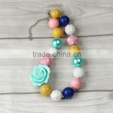 2016Chunky bubblegum beaded necklace wholesale baby girls acrylic fashion kids bead necklace