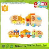 Kids Educational Block 15pcs Colorful Wooden Magnet Train Toy