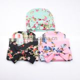 Hot-sales Baby large bow floral Beanie hat Infant Cotton knitted toddlers New Children crochet birthday hat FH-195