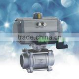 pneumatic ball valve in female thread and flanged type with rack and pinion type pneumatic actuators