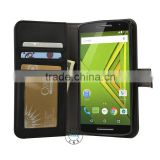 For Moto X Play Case, Flip Pu Leather Wallet Case Holder Cover with Stand / Card Slots for Motorola Moto X Play (Black Wallet )
