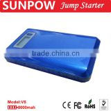 sunpow 12v 8000mah lcd display colorful and ultrathin power bank manufacturer of multifunction car jump starter