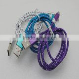 Metal Shell Micro USB Charger Cable 1M Braided Nylon V8 Data Sync Charging Cord Adpter Line