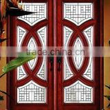 Solid wood entry door with glass, double doors design