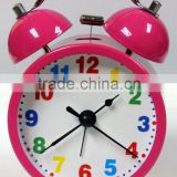 "quartz analog table clock, metal belling clock, 3.5"" metal twin bell alarm clock"