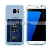Ultraslim clear TPU crystal case for Samsung Galaxy S7, For S7 edge silicone skin with card holder