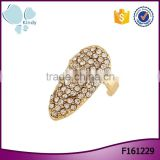 Factory wholesale fully-jewelled rhinestones alloy finger nail ring jewelry