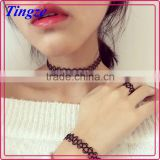 Black colors braided fishing line charm choker necklace,bracelet,fingers ring three-piece set