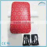 fashion mini manicure pedicure set with punched holes red flower pattern